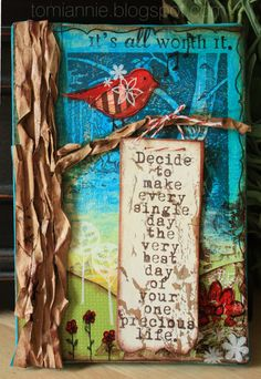 """""""Decide to make every day the very best day of your precious life"""" -- Mixed Media Canvas for Growing in Unity Art Journal Pages, Art Journals, Custom Journals, Handmade Journals, Junk Journal, Mixed Media Collage, Mixed Media Canvas, Collage Art, Painting Collage"""