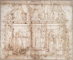 Michelangelo architectural drawings - SKETCH FOR THE TOMB OF JULIUS II Drawing. Uffizi, Florence