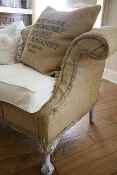 burlap coffee sack love seat sofa, Palisade Homes, Custom home builder, Portland, Oregon, shabby chic sofa, painter drop cloth reupholster fabric #shabbychicfurnituresofa