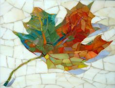 Autumn leaf mosaic…If I could have another couple of lifetimes, I'd love to learn this art form. When I was little, you could buy small kits with hundreds of pieces of real ceramic tiles….that would keep me busy for hours. 'Rather like quilting, isn Tile Art, Mosaic Art, Mosaic Glass, Mosaic Tiles, Glass Art, Stained Glass, Mosaics, Mosaic Crafts, Mosaic Projects