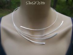 Sterling Silver Collar Torque Torc Necklace Minimalist Swirl Silver Rays