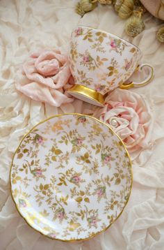 Beautiful display: Floral china & fabric rosettes against cream colored velvet! ~ PrettyShabby2 (Tumblr)