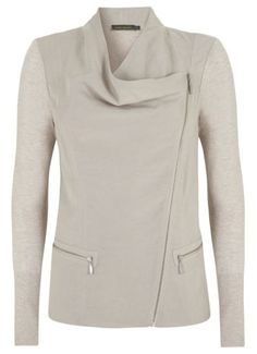 Mint Velvet Woven & knit jacket Stone - House of Fraser