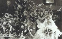 Photo of Hugette Clark on her wedding day, with the portrait of her father Senator Clark, ( Gilded Age copper tycoon) in the background.