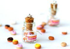 Dunkin Donuts kawaii earrings jar polymer clay miniature by Zoozim from Zoozim