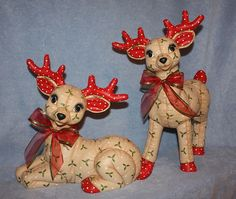 Back by popular demand! One set of jumbo deer available in my #etsy shop: Jumbo Hand Painted Ceramic Christmas Reindeer Standing painted with a holly berry print to look stuffed