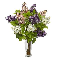 Materials: Polyester material, plastic, iron wire, glass, resin Plant type: Lilac Incredible springtime color Will stand out in any room Enjoy it all year long No maintenance required Plant holder: 10