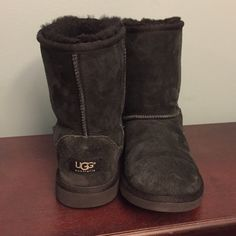 Uggs Short black uggs in very good condition. No stains. Or rips. Inside sides very fluffy. Bottoms still have fluff. Heels look great!! These are a 5 but as a size 6.5 they fit me with no room but not tight. UGG Shoes Winter & Rain Boots