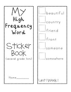 HFW Second Grade Reading Street- Sticker Book for the ENTIRE YEAR - Melanie Bartholomew - TeachersPayTeachers.com