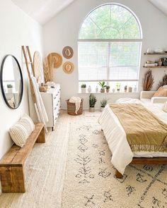 White Bedroom Furniture, Home Bedroom, Bedroom Ideas, Bedrooms, Bedroom Inspiration, Master Bedroom, Nature Decor, Boho Decor, Natural Bedroom