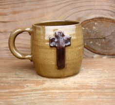 Rustic Cross Mug. Man Woman Ceramic Pottery by LittleRiverPottery
