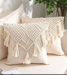 Boho Throw Pillows, Boho Cushions, Diy Pillows, Throw Pillow Covers, Cushions On Bed, Cream Pillow Covers, Cream Cushions, Lumbar Throw Pillow, Crochet Cushions