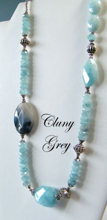Cluny Grey explores jewelry trends in handcrafted jewelry and features her own unique bracelets, earrings, and necklaces. Bead Jewellery, Gemstone Jewelry, Beaded Jewelry, Jewelery, Jewelry Necklaces, Beaded Necklace, Aquamarine Necklace, Bracelets, Necklace Ideas