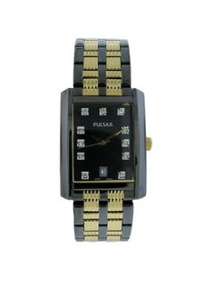 Men's Wrist Watches - Pulsar Mens PXDB21 Crystal Accented Black Ion Plated Stainless Steel Watch * Check out the image by visiting the link. (This is an Amazon affiliate link)