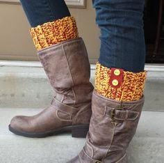 Leg warmers boot cuffs crocheted soft wool yarn Team by UtahWraps, $26.00