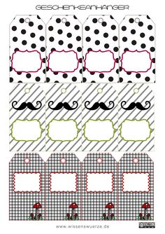 Moustache Tags and several other sets Free Printable Gift Tags, Printable Labels, Printable Stickers, Printable Paper, Free Printables, Paper Tags, Scrapbooking, Vintage Tags, Tampons