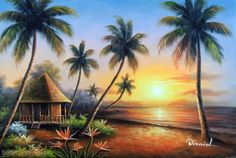 Hawaii-Beach-House-Sunset-Pacific-Ocean-Palm-Tree-24X36-Oil-On-Canvas-Painting