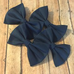 Simple navy clip in bow ties - wedding hair bow photo