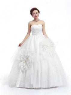 ウェディングドレス プリンセス ビスチェ スウィープトレーン 左側の花はポイント 挙式 ブライダル 結婚式 B14TB0029