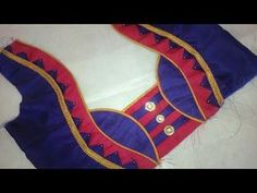 easy blouse back neck designe cutting and stitching at home - Fun Clip Videos Patch Work Blouse Designs, Simple Blouse Designs, Stylish Blouse Design, Blouse Back Neck Designs, Bridal Blouse Designs, Pattu Saree Blouse Designs, Sari Blouse, Neck Designs For Suits, Designer Blouse Patterns