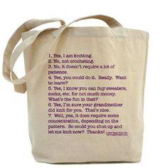 Knitting Tote Bag.