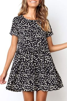 Eavah Short Sleeve Pleated Design A Line Mini Dress (4 Colors)