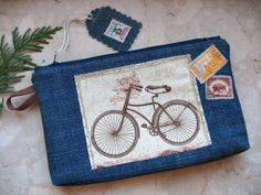 bicycle old post card purse cosmetic documents bag denim by tilza