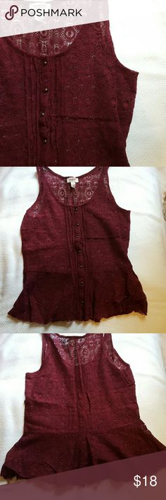 Lace peplum top Cranberry red sheer lace top with a peplum! Brass button detail down the front. Size L. Can be dressed up or worn casual. Love this top but no longer fits, only worn once! Arizona Jean Company Tops