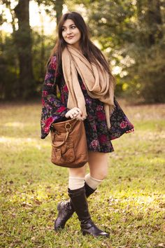 Bell Sleeved Dress, Knee Socks, Tall Boots, and a Scarf
