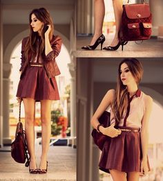 Stylish mini dress fashion with leather jacket, bag and heels Corporate Fashion, Corporate Attire, Office Fashion, Daily Fashion, Women's Fashion, Business Attire, Winter Fashion Outfits, Autumn Winter Fashion, Fashion Dresses