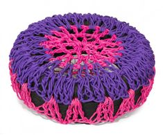 Colorful Outdoor Pouf Made From #Recycled Tires and Crocheted Cover #interiordesign #furniture #garden