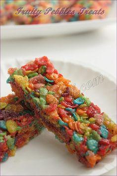 Homemade Fruity Pebbles Treats - Kids Snacks ~ Sankeerthanam (Reciperoll.com) Recipes   Cake Decorations   Cup Cakes  Food Photos