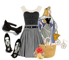 """""""Rose"""" #disneybound #sleepingbeauty  Not sure how I like the skirt but my favourite part of this outfit is the pair of shoes."""
