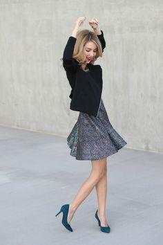glitter dress, teal heels, dress and jacket, simply sutter