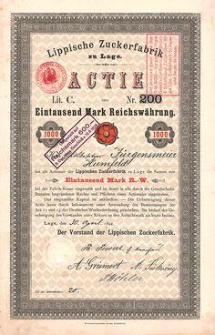 Lippische Zuckerfabrik / Namensaktie Lit. C 1000 Mark, Lage 30.4.1894