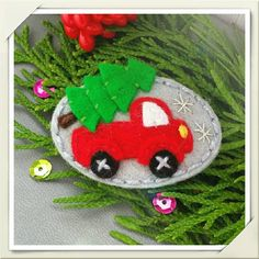 Felt Christmas Tree and Truck Snap Hair Clip  Medium Size