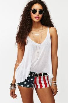 Memorial of July. America Cutoff Shorts in Clothes Bottoms Shorts at Nasty Gal beauty-style 4th Of July Outfits, Summer Outfits, Summer Shorts, Summer Clothes, Outfits 2014, Teen Fashion, Fashion Outfits, Womens Fashion, Rock Fashion