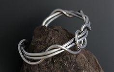 Men's Sterling Silver Vine Cuff - Wrapped Cuff - Heavy Gauge Cuff - Simple Silver Cuff Bracelet - Twig Jewelry - Man Cuff - Sherry Tinsman