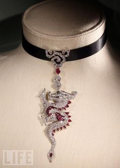 Cartier,diamond and ruby dragon necklace
