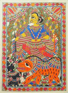 Goddess Durga (Madhubani Folk Art on Paper - Unframed) Madhubani Art, Madhubani Painting, Indian Paintings, Art Paintings, Durga Painting, Myths & Monsters, Indian Aesthetic, Indian Folk Art, Mother Goddess