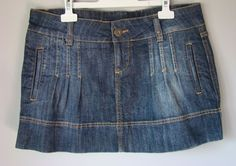 "MINI GONNA corta ""BABY ANGEL"" jupe rock skirt jeans DENIM blu sucro PINZE S 42"