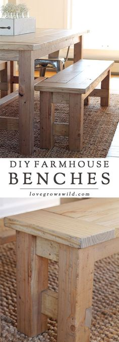 Bench Learn how to build an easy DIY Farmhouse Bench - perfect for saving space in a small dining room! Details at Learn how to build an easy DIY Farmhouse Bench - perfect for saving space in a small dining room! Details at