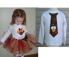 Brother Sister Matching Turkey Outfits - Includes boys tie shirt and girls shirt, tutu and leg warmers. $75.00, via Etsy.