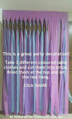 Long streamers for door or party wall. Love this idea for the classroom!