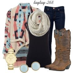 """coral and blue"" by taytay-268 on Polyvore"