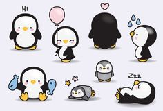 Premium Vector Clipart Kawaii pinguini di LookLookPrettyPaper