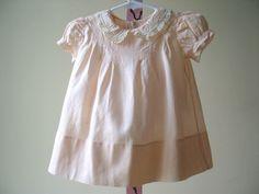 Vintage Baby Couture Peach Cotton Batiste Dress Heirloom Handmade