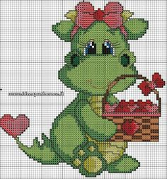 Baby girl dragon with basket of hearts - if I stitched her in red, she could be a Welsh baby dragon. Cross Stitch Bookmarks, Cross Stitch Cards, Counted Cross Stitch Patterns, Cross Stitch Designs, Cross Stitching, Cross Stitch Embroidery, Dragon Cross Stitch, Cute Cross Stitch, Cross Stitch Animals