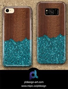 Aqua blue sparkles broken rustic brown wood iPhone 6 7 & Samsung Galaxy S8 S7 Case by #PLdesign #sparkles #bluesparkles #style #mipic