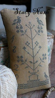 pretty delicate primitive tree with birds cross stitch